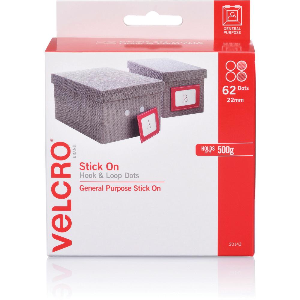 Velcro Brand Stick On Hook & Loop 22Mm 62 Dots White Dispenser