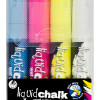 Texta Jumbo Liquid Chalk Marker Wet Wipe Chisel 15mm Assorted Wallet Of 4