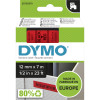 Dymo D1 Label Cassette Tape 12mmx7m Black on Red