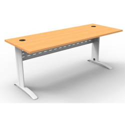Rapid Span Open Straight Desk 1800Wx700mmD Modesty Panel With Beech Top & White Steel Frame