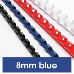 Rexel Plastic Binding Comb 8mm 45 Sheet Capacity Blue Pack of 100