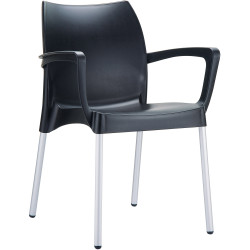 Dolce Poly Shell Chair With Arms Indoor and Outdoor Use Black