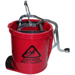 CLEANLINK H/DUTY MOP BUCKET Metal Wringer 16 Litre Red