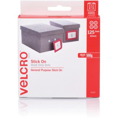 Velcro Brand Stick On Hook Only 22Mm 125 Dots White Dispenser